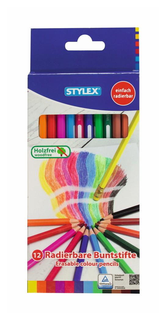 12 verschiedene Farben 36 Buntstifte radierbar