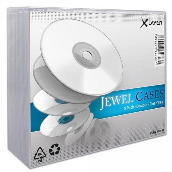 5 xlayer 2er 2fach dvd cd h llen jewelcase transparent ebay. Black Bedroom Furniture Sets. Home Design Ideas