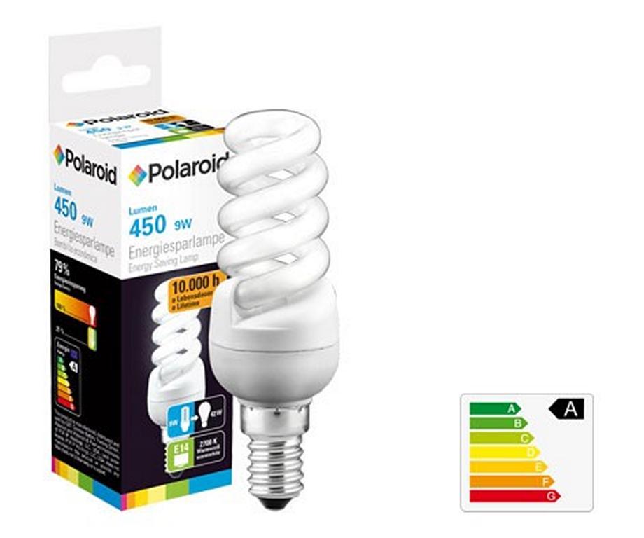 polaroid energiesparlampe e14 mini full spiral 9w 42w. Black Bedroom Furniture Sets. Home Design Ideas