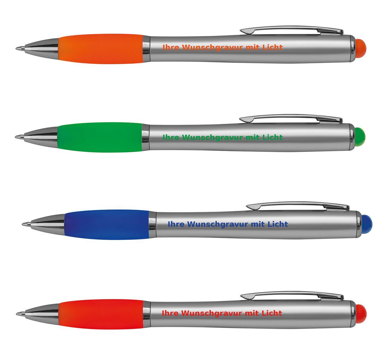grün Touchpen Kugelschreiber mit Gravur mit weißem LED Licht Farbe