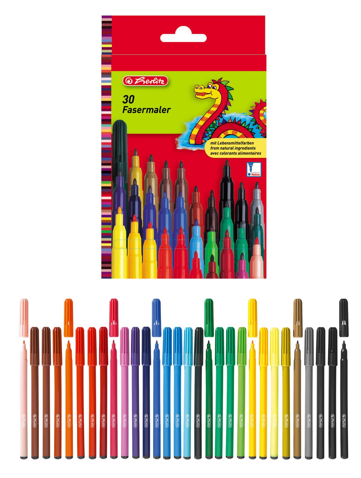 30 Herlitz Fasermaler 30 Verschiedene Farben Ebay