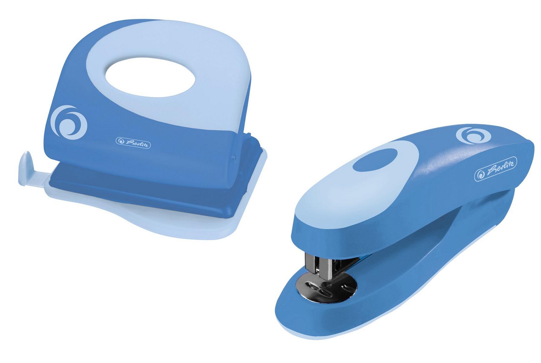 Herlitz Büroset / Heftgerät 24/6 + Bürolocher mit Ansatzschiene / Farbe: blau