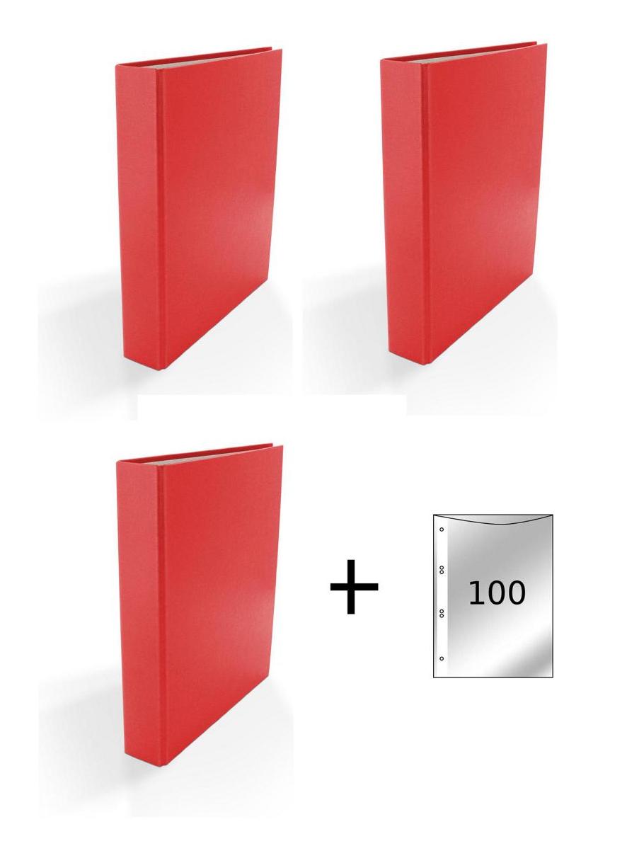 3x Ringbuch Din A5 4 Ring Ordner Farbe Rot 100