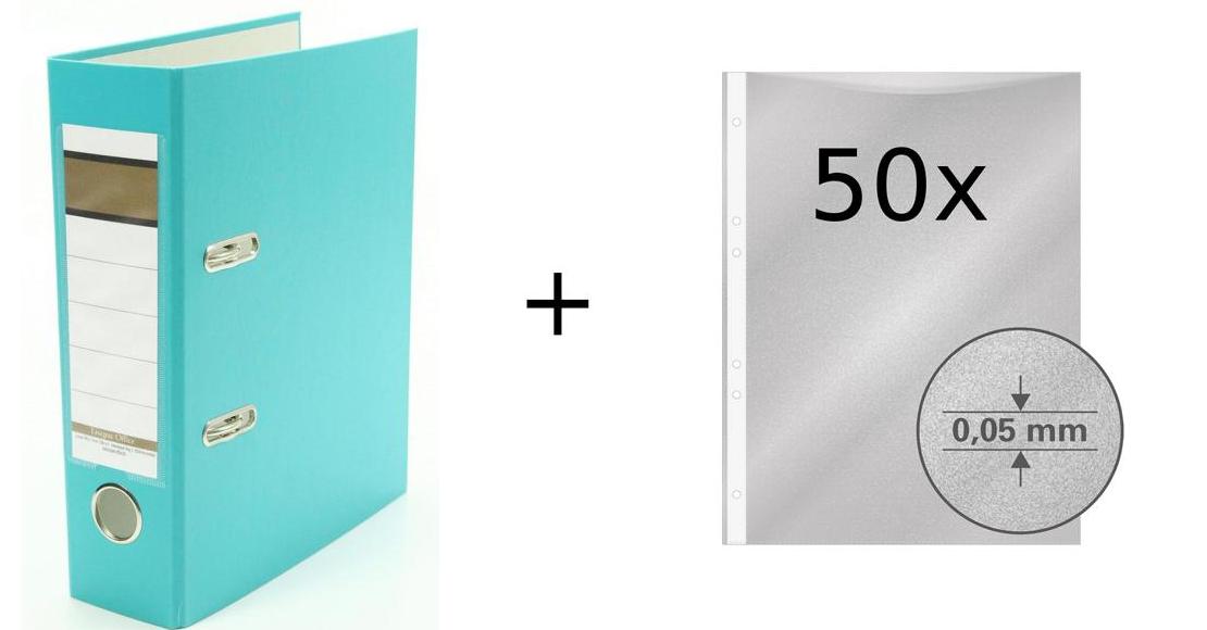 75mm türkis DIN A5 50 Prospekthüllen Farbe Ordner