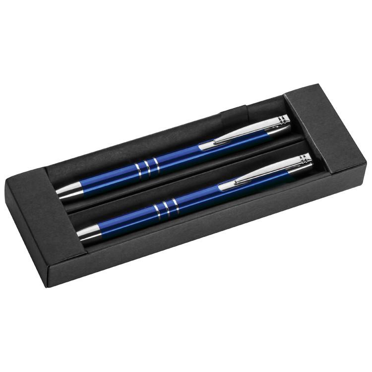 lila Schreibset bestehend aus Kugelschreiber Farbe Druckbleistift