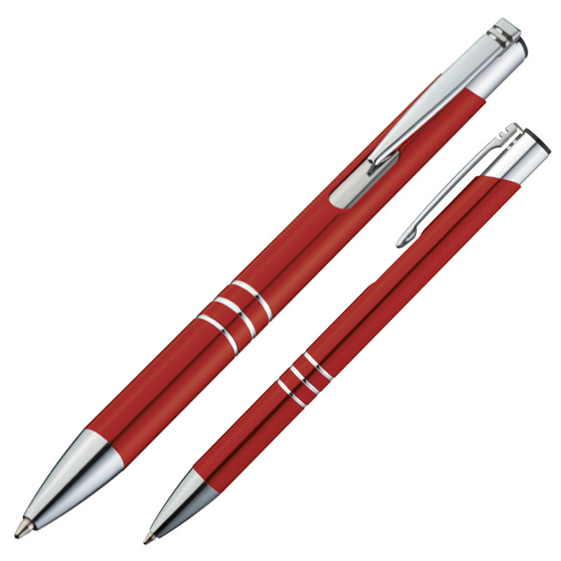 //oder 4x Ersatzminen Vierfarben Kugelschreiber Metall-matt mit Schiebemechanik