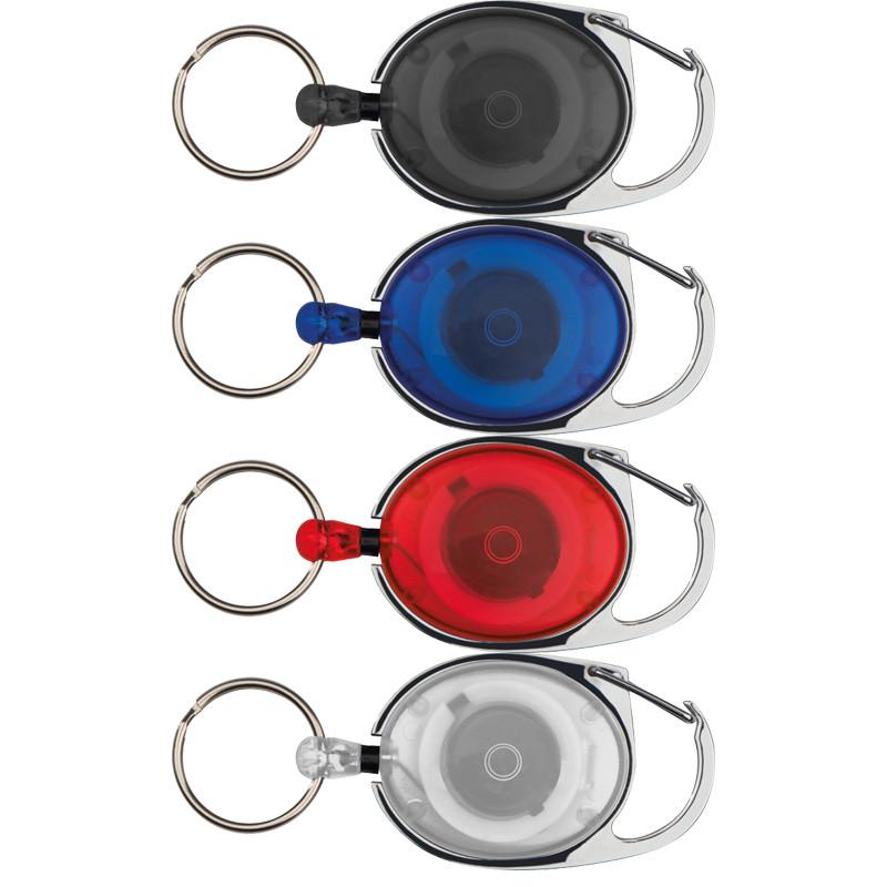 Farbe blau Schlüsselanhänger mit Karabiner und ausziehbarem Schlüsselring