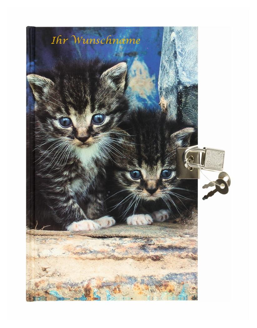 """mit Schloss /""""Katzen/"""" Tagebuch mit goldgefärbter Gravur"""