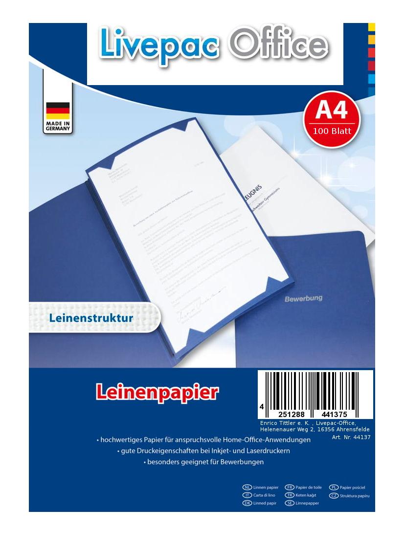 100 Blatt Leinenpapier 120g M Din A4 Ideal Fur Bewerbung Ebay