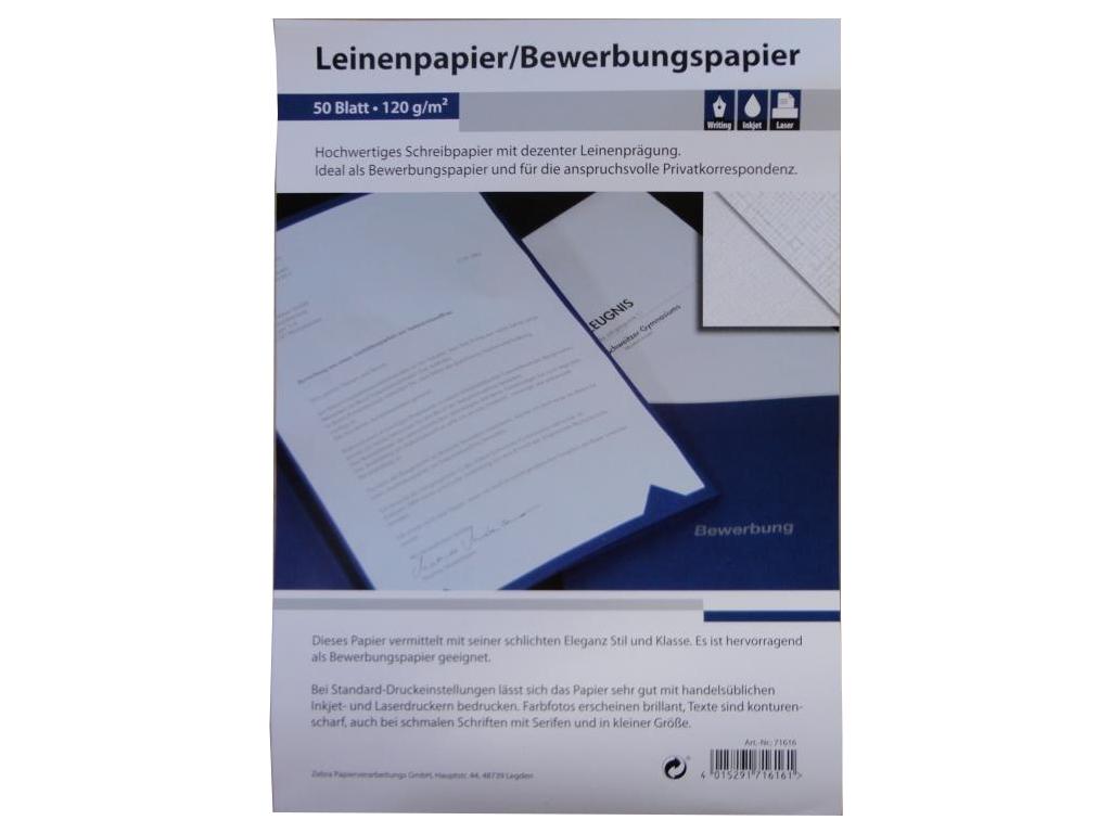 50 Blatt Leinenpapier 120g M Din A4 Ideal Fur Bewerbung Ebay