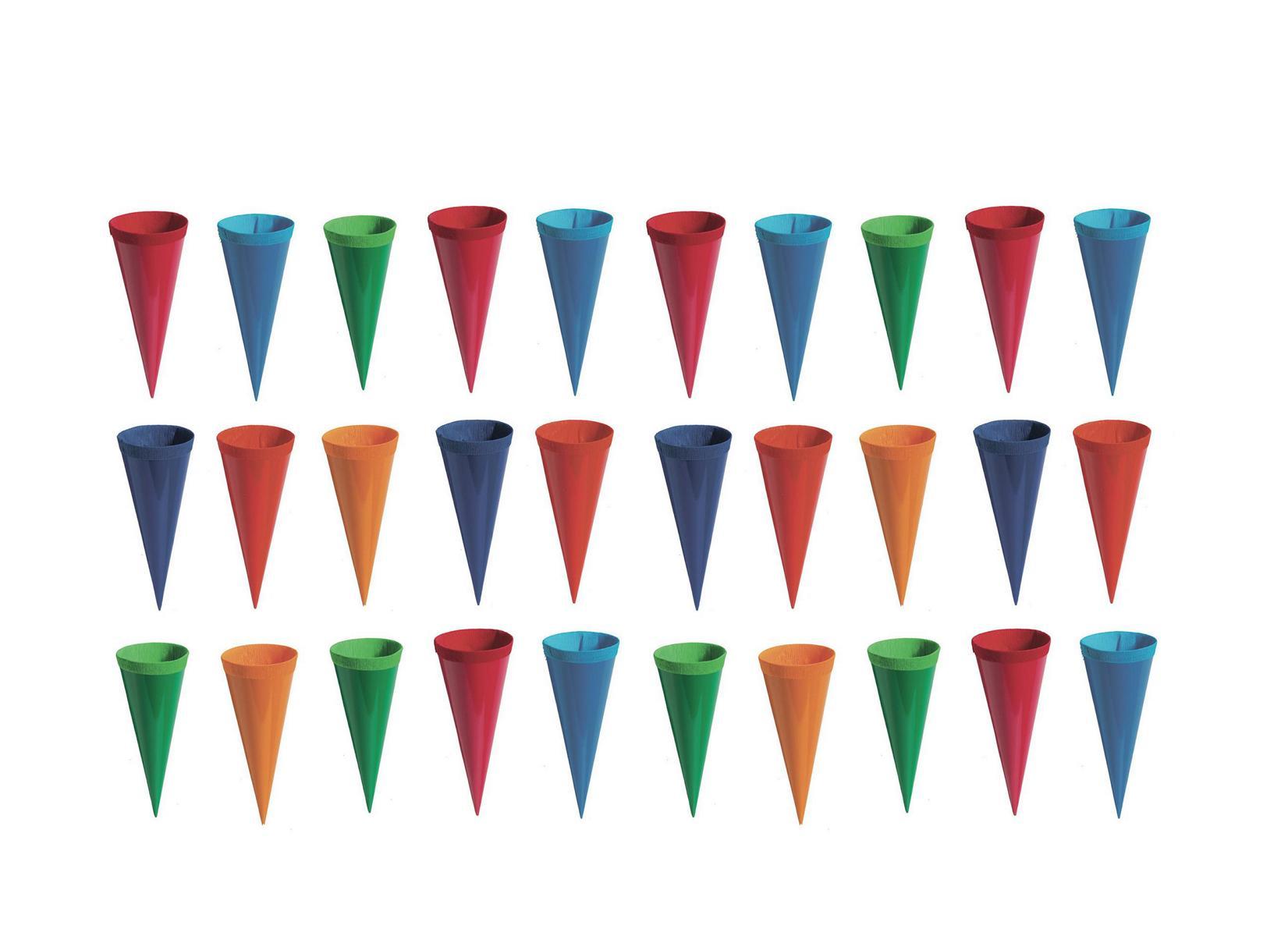 30 Deko Schultuten Lange 12 5cm 6 Verschiedene Farben Ebay